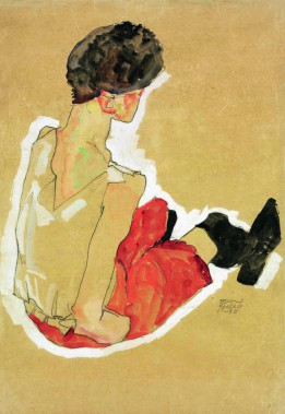 Egon Schiele 1911 Pencil, gouache, opaque white, India ink wash 446x302 mm
